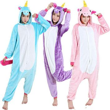 2017Adult unicorn pajamas Onesuit kigurumi cosplay unicorn pyjamas women pijama de unicornio Long sleeve Flannel Winter Sleepwear