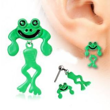 Two-Piece Frog Dangle Earrings - (pair)
