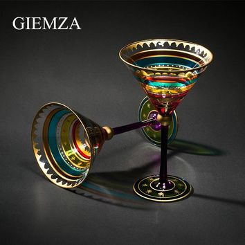 GIEMZA Colored Hand Painted Wine Glasse Colorful Glass Goblets Multicolor Red Wine Goblet Glasses Crystal Stripe Cocktail