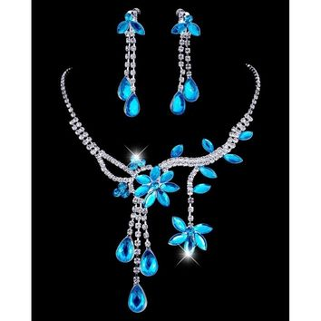 Wedding Bridal Flower Leaf Rhinestone Crystal Necklace Drop Earrings Jewelry Set AIR