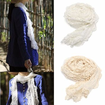 Transparent Embroidery Floral Crochet Mesh Lace Trim Long  Scarf Shawl