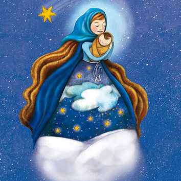Little Jesus Illustration Drawing Christmas Print Winter Snow Snowflake Star Saint Mary