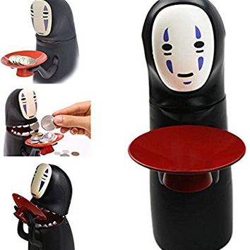 Beautyonline No-Face Piggy Bank Toy Banks No-face Man Electric Doll with Music Piggy Saving Coin Bank Eat Coin Machine
