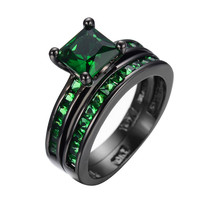 Classic Emerald Jewelry Princess Cut Green CZ Wedding Ring Set Anel Vintage Black Gold Filled Engagement Rings For Women RB0362