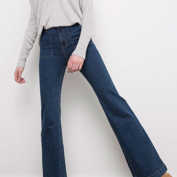 Stretch bell-bottom jeans patch pocket - Best sellers ❤ - Clothing - Woman - PULL&BEAR Denmark