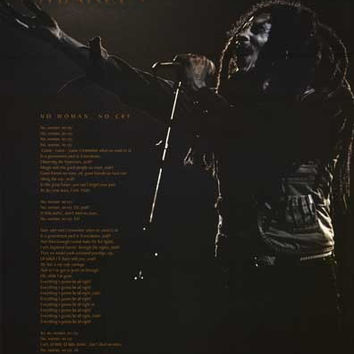 Bob Marley No Woman No Cry Lyrics Poster 22x34