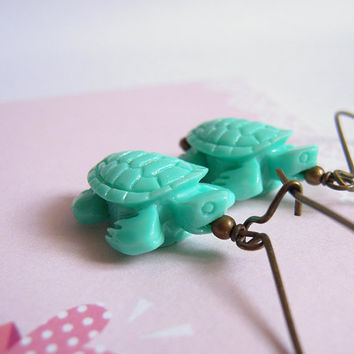 Teal Turtle Earrings, Sea Turtle Jewelry, Beach Party