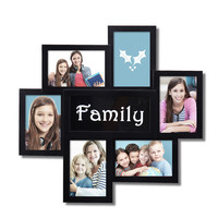 "Decorative Black Plastic ""Family"" Wall Hanging Collage Picture Photo Frame"
