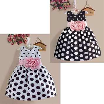 2016 Summer Baby Kids Girls Party Wedding Polka Dot Flower Gown Fancy Dress 2 to 7Y Girls Princess Bohemia Casual dress