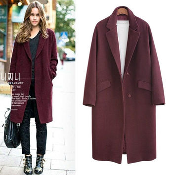 Shop Womens Grey Wool Coat on Wanelo