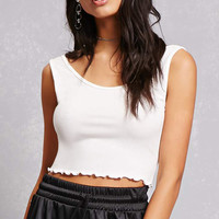 Ruffled Cropped Tank Top