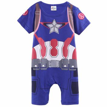 Baby Boys Captain America Romper Costume Toddler Cosplay Infant Halloween Superhero Avengers Party Cos Playsuits For Christmas