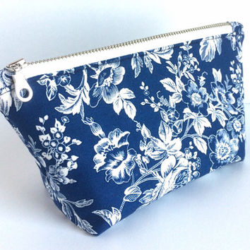 Something Blue Cosmetic Bag, Small Floral Makeup Bag, Small Zipper Pouch, Blue and White pouch