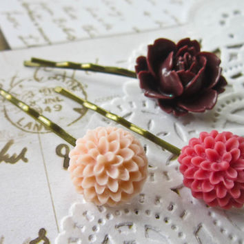 Vintage Cameo Hair Pins -  Burgundy, Rasberry & Pale Pink Cabochon Bobby Pins Clips