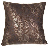 Pillow Cover w/14 x 14 pillow form - Brown Tooled Microsuede; Accent pillow/decorative pillow cover - Pillow form INCLUDED