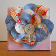 Fabric Flower Wall Hanging Blue 4 x 4 by Acires on Etsy
