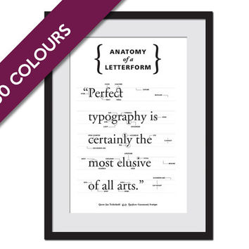Anatomy of a Letterform - Typeface Poster - Type Poster - Graphic Designer Gift - Typography Poster - Font Poster - Type Design - Alphabet