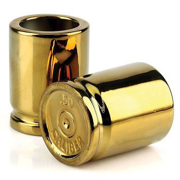 Gold Finish Bullet Case Shot Glasses