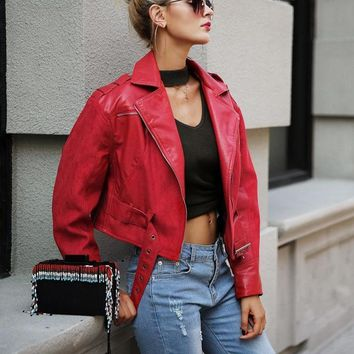 Fashion red leather jacket coat female Belt zipper suede patchwork basic jacket Casual outerwear faux leather coat