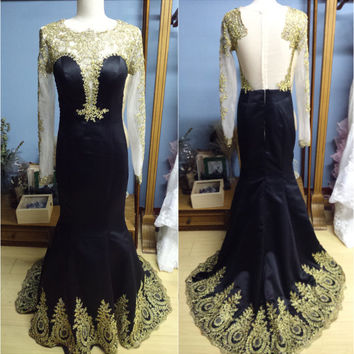 Long Gold Lace Sleeves Sheer Back Black Prom Dress Evening Gown with Gold Lace Hem Formal Occasion Dress (O033)