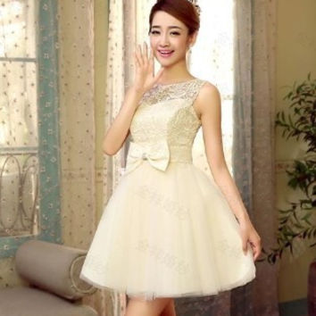 Princess Style 2016 elegant short design light champagne bandage special occasion dress for prom wedding and party free shipping