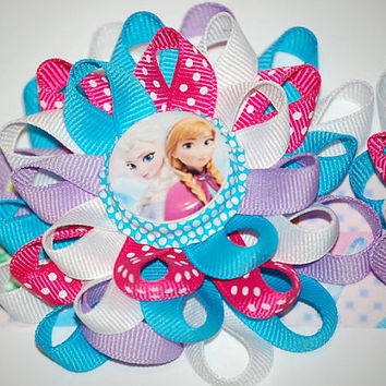 Set of bows elsa and anna frozen disney hair bows, loopy flower bows, blue pink bows for girls