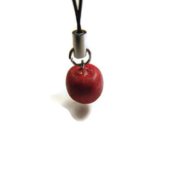 Red Apple Cellphone Charm - Polymer Clay Charm, Fruit Charm, Apple, Apple Charm