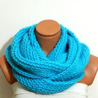 both hot,,both long,,infinity Scarf.Knit Block Infinity Scarf. Loop Scarf, Circle Scarf, Neck Warmer. turquoise Crochet Infinity