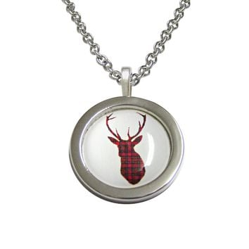 Circular Dark Red Stag Deer Head Pendant Necklace