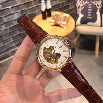 PEAP C009 Cartier Hollow Automatic Machinery Leather Watchand Watches Maroon Rose Gold