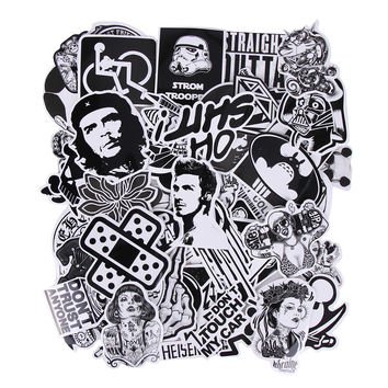 60PCS Black and White Doodle Sticker Waterproof Trolley Box Skateboard Luggage Graffiti Decal Toy Laptop Stickers