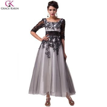 Robe De Soiree Elegant Grace Karin Beaded Lace Tulle Ball Formal Tea Length Evening Dresses Gowns Party Dress With Sleeves 6051