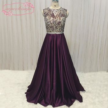 SuperKimJo 2018 Vintage Rhinestones Prom Dresses Formal Gowns A Line Satin Purple Elegant Beaded Prom Gowns for Girls