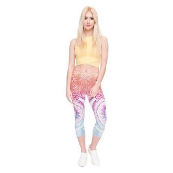 Leggings Round Ombre Printed Mid-Calf Fitness  Tights