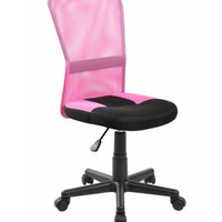 Pink Mid Back  Mesh Ergonomic Office Chair with Lumbar Support