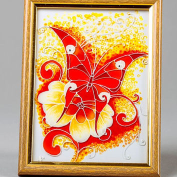 Stained glass handmade bright interior picture in wooden frame Flamy butterfly