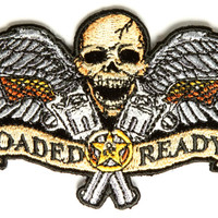 Small Loaded and Ready Skull Wings and Guns