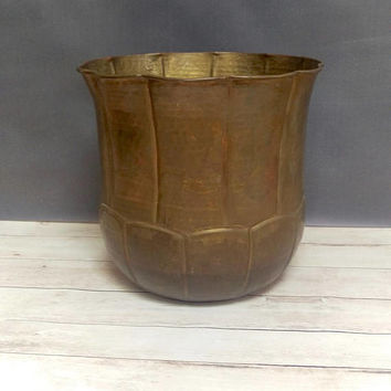 Large Brass Planter/ Brass Planter/ Succulent Planter/ Hammered Brass/ Planter Pot/ Planter Large/ Brass Trash Can/Brass Umbrella Stand