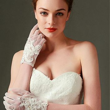 [12.99] In Stock Elegant Jersey Ivory Wedding Gloves With Applique & Beading - dressilyme.com