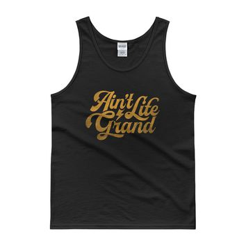 WSP Ain't Life Grand Yellow Distressed Text Tank Top
