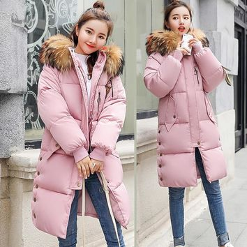 New Women Parkas coat Winter Long jackets down cotton padded big fur collar loose styled jackets parka windproof warm 3XL