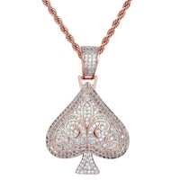 Designer Ace of Spade Rose Gold Finish Pendant Chain