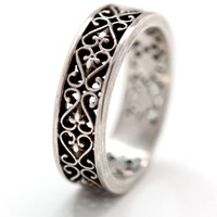 Heart and Flower Filligree Ring in .925 Sterling Silver