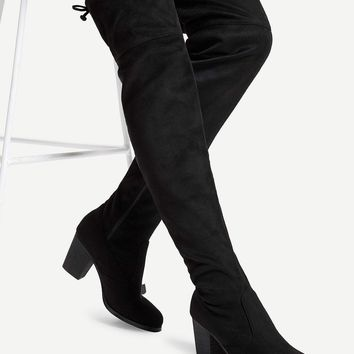Lace Up Back Thigh High Boots