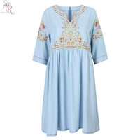 Blue V-neck Embroidery Floral Half Sleeve Denim Skater Dress Midi Casual Dresses 2016 Spring Women Clothing