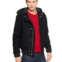 Hooded wool bomber jacket