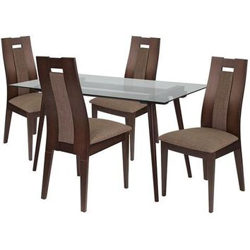 Newman 5 Piece Espresso Wood Dining Table Set with Glass Top and Curved Slat Wood Dining Chairs - Padded Seats