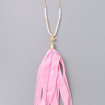 Pink Fabric Tassel Necklace