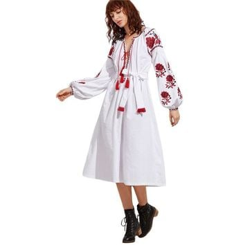 White Tassel Neck Long Sleeve Embroidered Peasant Dress