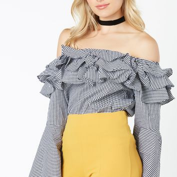 Don't Be Frilly Gingham Top